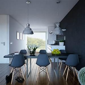 Chaise de salle a manger en style industriel for Meuble salle À manger avec chaise noir salon