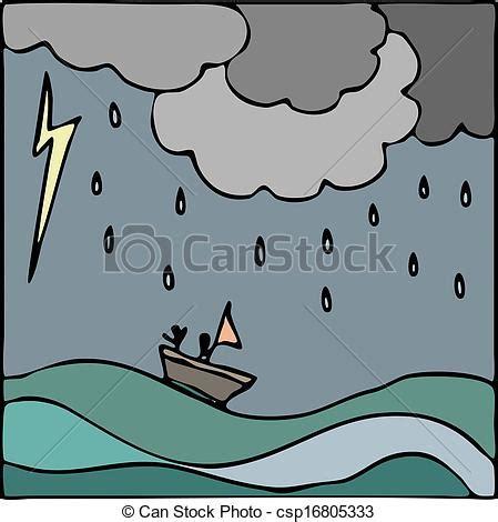 Barco En Una Tormenta Dibujo by Vectores De Barco Vector Mar Tormenta Mano Dibujado