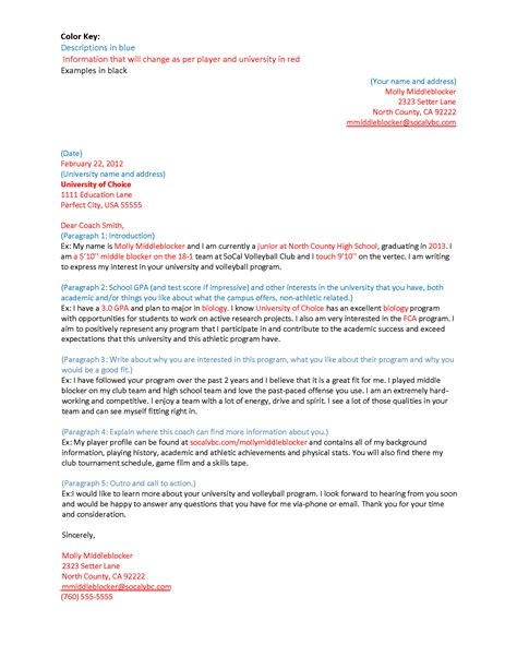 sle letter to college coaches for recruiting soccer