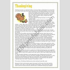 Thanksgiving  Reading Comprehension  Part 1 Of 3 (text)  Esl Worksheet By Demeuter