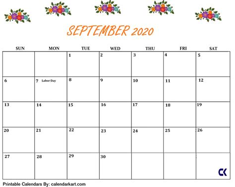 printable september  calendar calendarkart