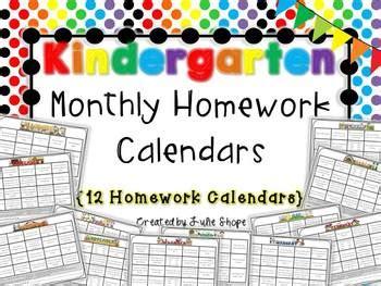 kindergarten monthly homework calendars 12 calendars 994 | original 283091 1