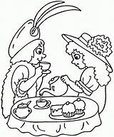 Tea Party Coloring Pages Printable Strawberry Birthday Clipart Drawing Teaparty Sip Puzzle Older sketch template
