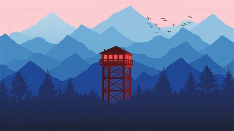 Wallpaper Watchtower, Mountains, Forest, Minimal, Cgi, Hd