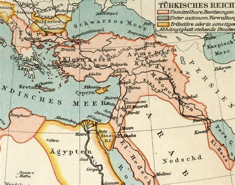 turco ottomano vecchia mappa dall atlante geografico 1890 l impero