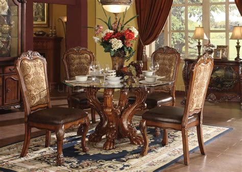 60010 Dresden Dining Round Table W/glass Top By Acme