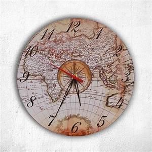 Wanduhr Vintage Weiß : wanduhr vintage retro antik historische weltkarte im kompass seefahrer globus look alss ~ Indierocktalk.com Haus und Dekorationen