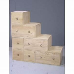meuble escalier double face 7 tiroirs hevea 88x35x88cm maori With meuble 7 tiroirs