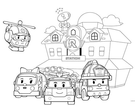 Robocar Poli Free Colouring Pages