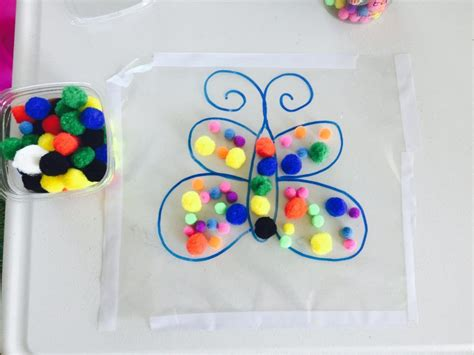 crafts for 2 yr olds decorate butterfly with pompoms activities for 1 5 year activities for two year