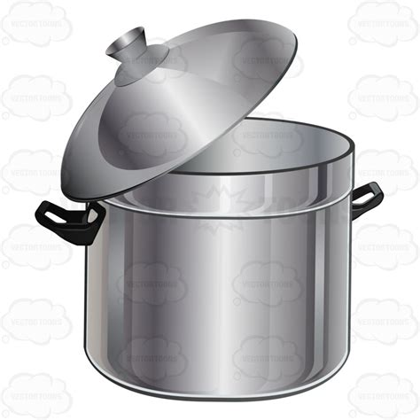 clipart silver stock pot with matching lid