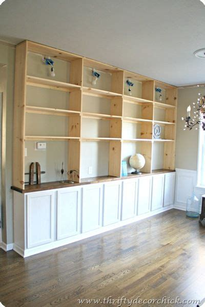 #diy Built Ins Bookcase Using Pre Built Cabinets And