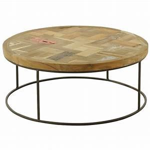 Table Basse Bois Metal : table basse style montagne ronde bois et m tal 80 cm noldor grenier alpin ~ Teatrodelosmanantiales.com Idées de Décoration
