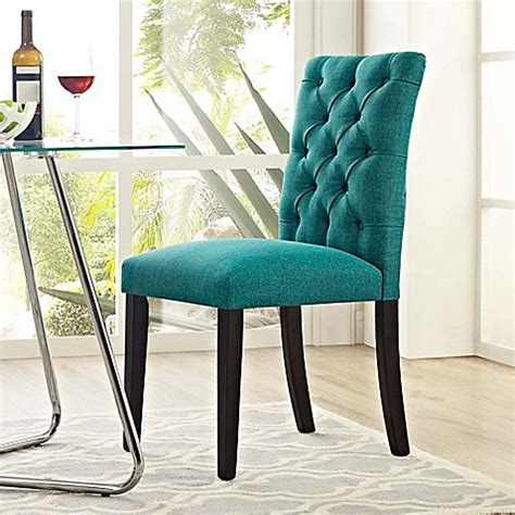 teal upholstered dining chairs buy modway duchess upholstered dining side chair in teal from bed bath beyond