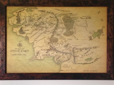map  middle earth framed today lotr