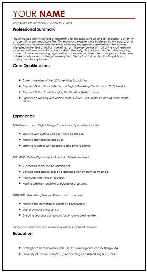 Employment Cv Template by Common Cv Exle Myperfectcv