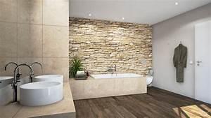 Wand Mit Steinoptik : design rustio mit steinmauer badewanne badezimmer ~ Watch28wear.com Haus und Dekorationen