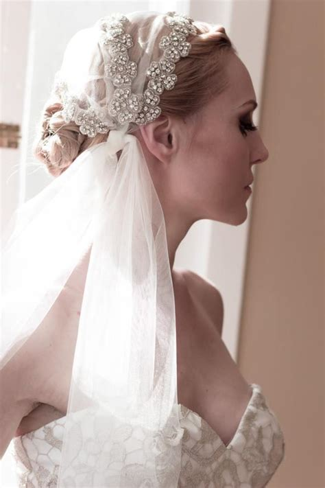 Juliet Cap Wedding Veil Unique Rhinestone Covered Tied Bridal