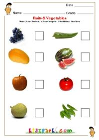 fruits vegetables science worksheets  kindergarten