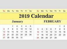 Get Free January & February 2019 Printable Calendar