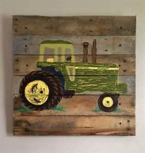 tractor green 20x20 painted pallet art boys rustic wall