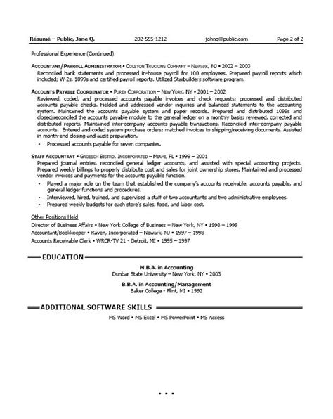 senior staff accountant resume sle