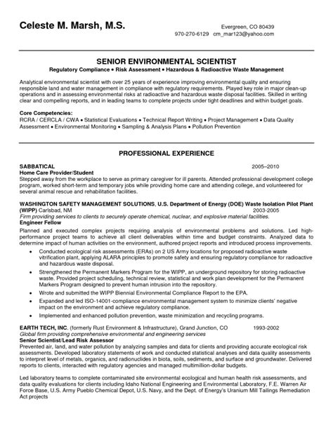 environmental scientist resume sle environmental and