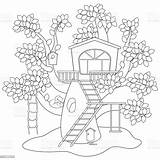 Coloring Tree Treehouse Cartoon Animal Cheerful sketch template