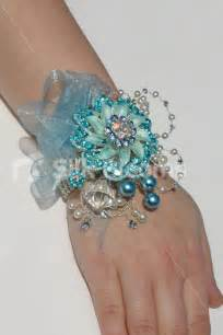 prom wristlets icy blue winter inspired brooch wedding wrist corsage