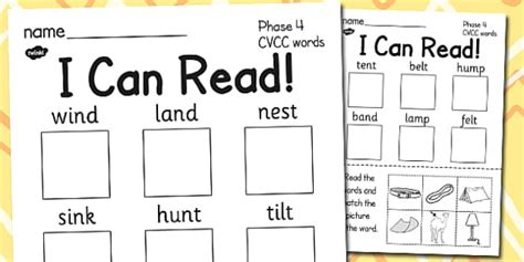 I Can Read Phase 4 Cvcc Words Worksheet  Activity Sheet Read