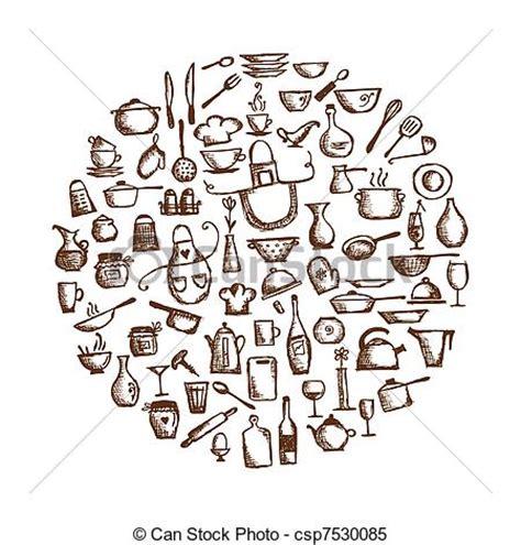 dessin d ustensiles de cuisine vecteur clipart de croquis ustensiles ton conception