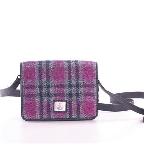ladies pink check harris tweed shoulder bag