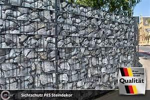 Sichtschutz Doppelstabmatten Steinoptik : sichtschutzstreifen aus pes polyester mit motiv bedruckt ~ Orissabook.com Haus und Dekorationen