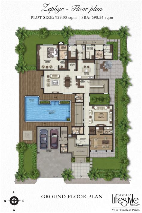 Villa Floor Plan by Sobha Lifestyle Legacy 4 Bedroom Villas Bangalore