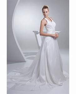 long halter train length taffeta wedding dress open back With wedding dress train lengths