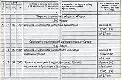 Запись в трудовую книжку о переименовании подразделения