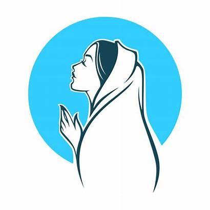 Mary Virgin Vector Emblem Label Portrait Clip