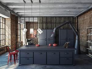 Cuisine Style Industriel Bois : cuisine style atelier free petite cuisine lineaire ~ Teatrodelosmanantiales.com Idées de Décoration