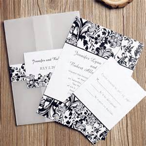 black and white wedding invitations black and white vintage damask pocket wedding invitations ewpi073 as low as 1 69