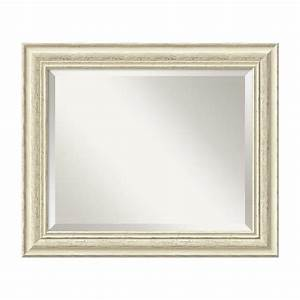 Shop amanti art country whitewash rustic whitewash beveled for Kitchen cabinets lowes with wall decor mirrors art