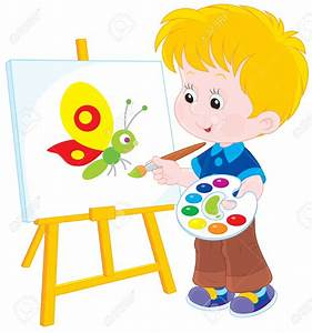 Child clipart painter - Pencil and in color child clipart ...