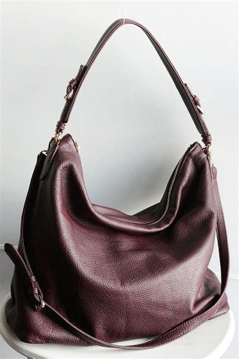 large burgundy leather hobo bag oxblood shoulder bag