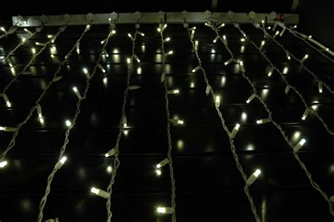 Twinkling Led Curtain Lights On White Wire With Wide