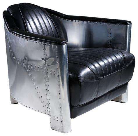 avia black top grain leather club chair midcentury