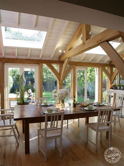 green oak framed extension dining room interior