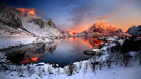 Snowy Reine Lofoten Norway Wallpaper Backiee