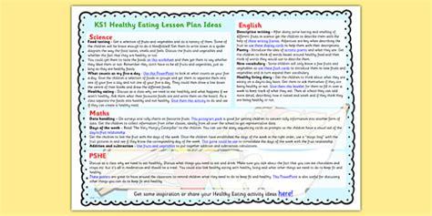 healthy eating lesson plan ideas ks healthy eating
