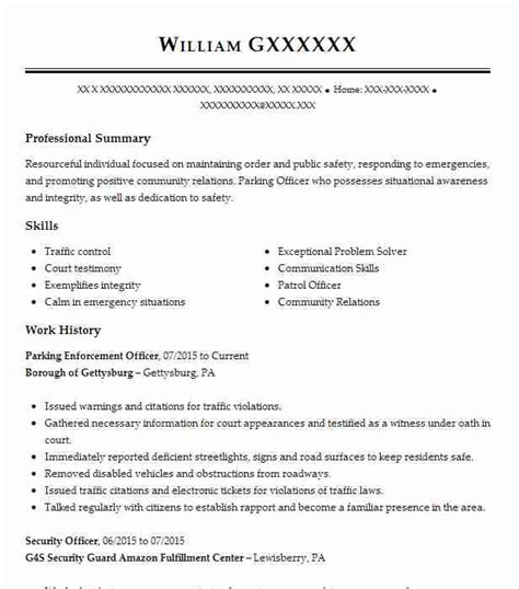 Resume Exles For Enforcement by Parking Enforcement Officer Objectives Resume Objective