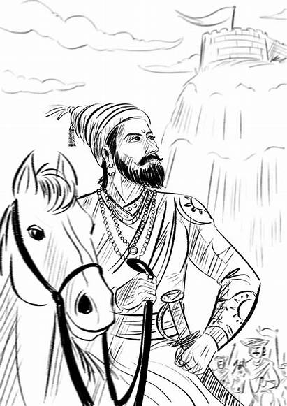 Shivaji Maharaj Sketch Maharaja Sketches Chhatrapati Pencil
