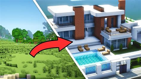 minecraft epic transformation     completed modern house  interior